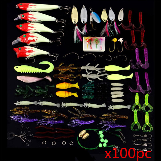 100Pcs/Set Mixed Fishing Lure Bait Hook Suit Tool Fishing Accessories Fishing Tackle