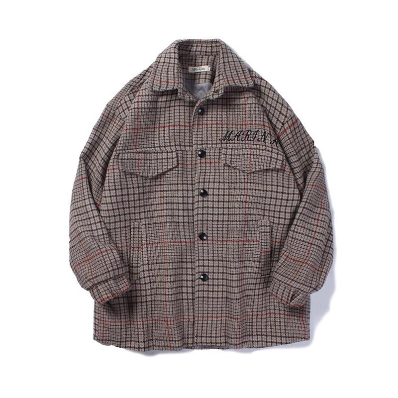 YASUGUOJI new 2019 fashion checkered woolen coat men casual loose wool winter coat men male thicken jackets mens wool coat