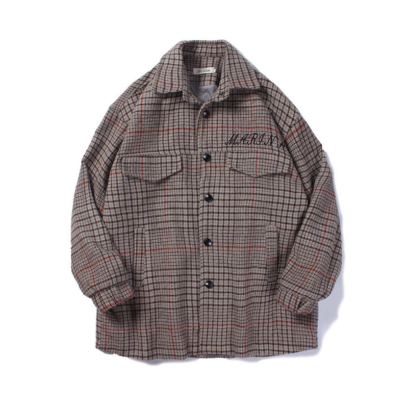 YASUGUOJI new 2019 fashion checkered woolen coat men casual loose wool winter coat men male thicken jackets mens wool coat