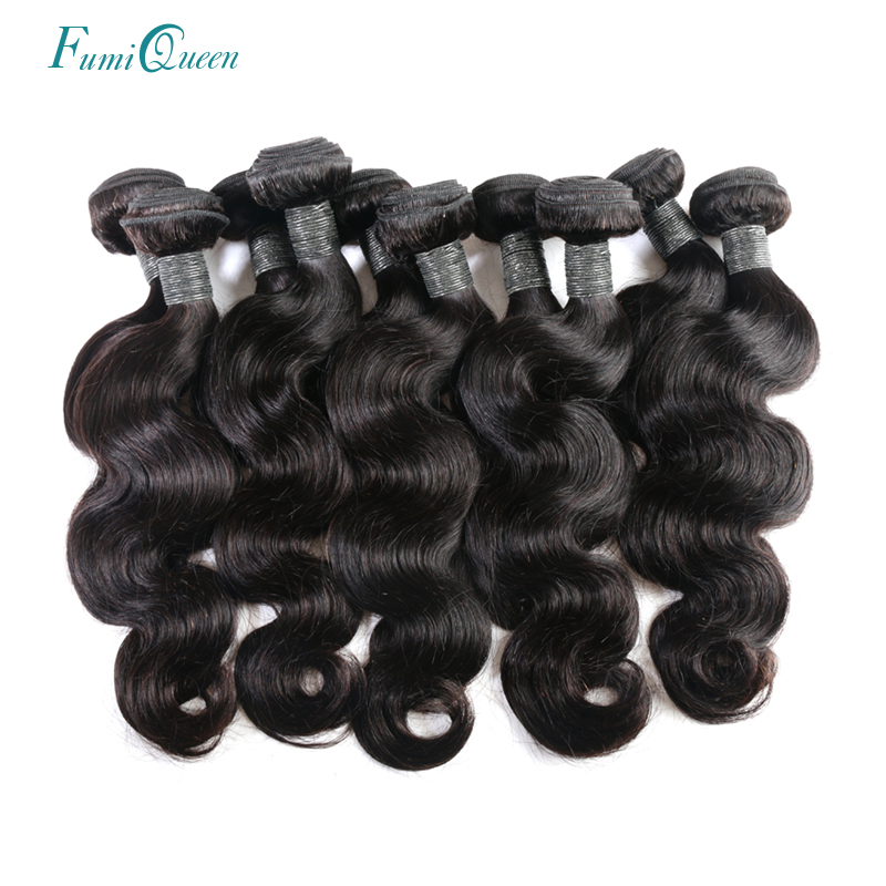Ali Fumi Queen Hair Products 10Pcs/lot Body Wave Human Hair Weaving Natural Color Remy Hair Peruvian Hair Weave Bundles