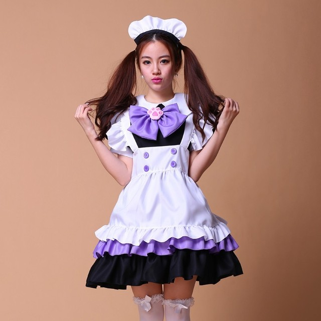 Maid Costumes Women Cosplay Lolita Pink Purple French Anime Beer Adult Naughty -3946