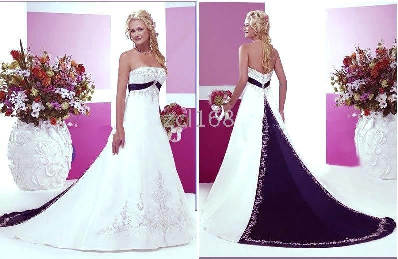 new fashion blue purple white red accent color embroidery beautiful satin wedding dress 2016