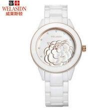 Especial moda femenina mariposa de cerámica blanca reloj mujeres reloj de mujer de cuarzo resistente al agua de Oro de Señora Girl relojes Deportivos