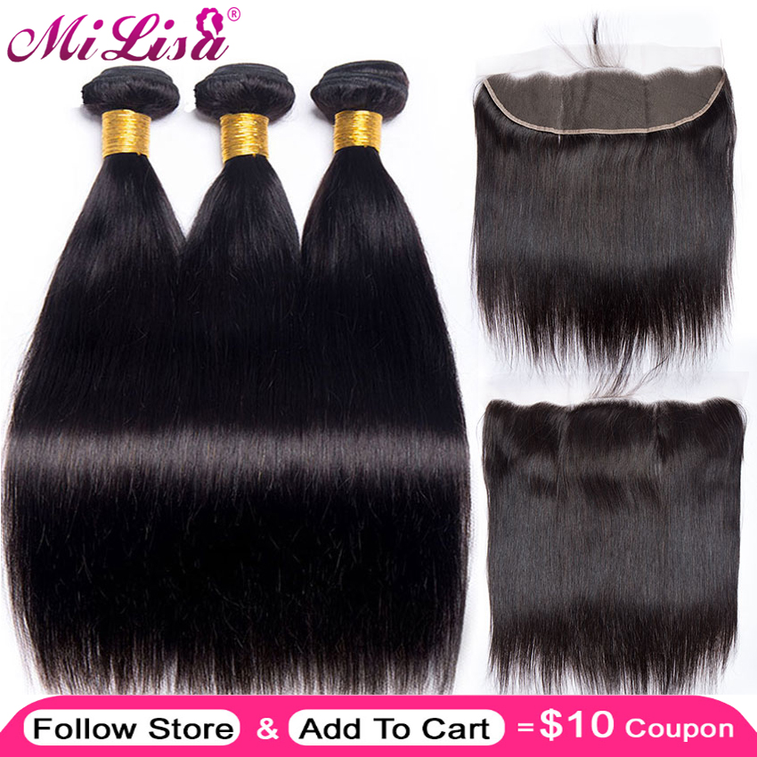 Closure Bundle Weave Frontal Human-Hair Mi-Lisa Malaysian Straight With Remy And 13x4