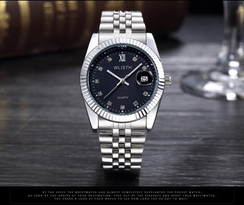 WLISTH роскошные золотые часы для женщин и мужчин, для влюбленных, нержавеющая сталь, Кварцевые водонепроницаемые мужские наручные часы для мужчин, аналог Авто Дата clcok - Цвет: Silver Black For Man
