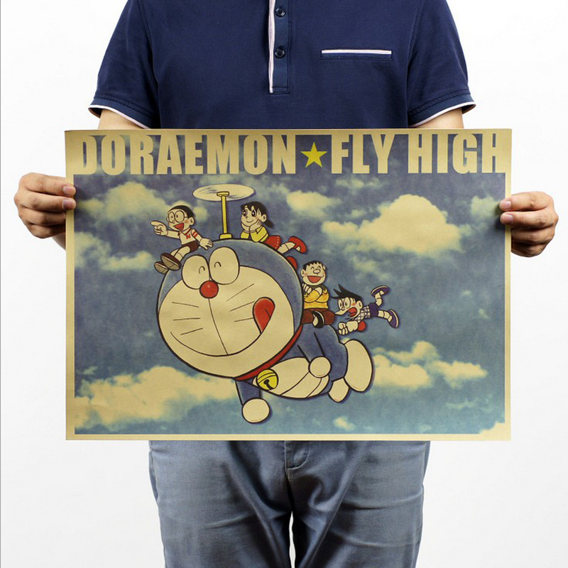 Free shipping,Doraemon/classic Cartoon movie Comic/kraft paper/bar poster/Retro Poster/decorative painting 51x35.5cm