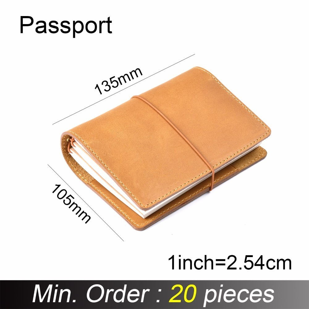 20 Pieces / Lot Passport 130x105mm Genuine Leather Notebook Handmade Travel Journal With Card Holder Diary Sketchbook Planner-in Notebooks from Office & School Supplies
