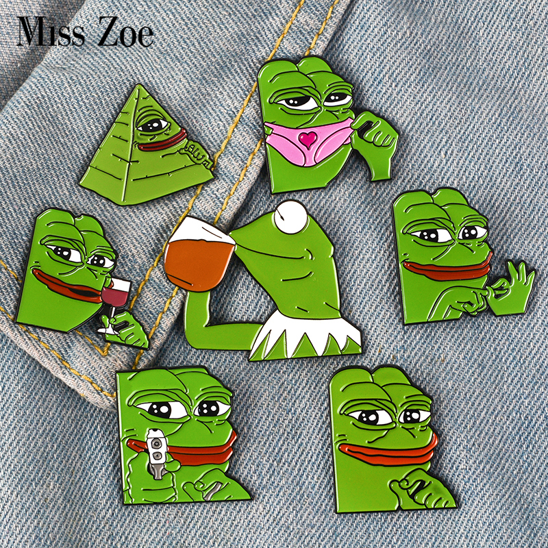 11 Styles Pepe The Frog Meme Enamel Pins Shoot Pyramid Thinking Drinking Funny Animal Brooches Badge Jewelry Gifts For Friends