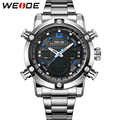 WEIDE Brand Mens Digital Quartz Watches Men Silver Stainless Steel Watchband Army LCD Analog Date Alarm Back Light Display Items