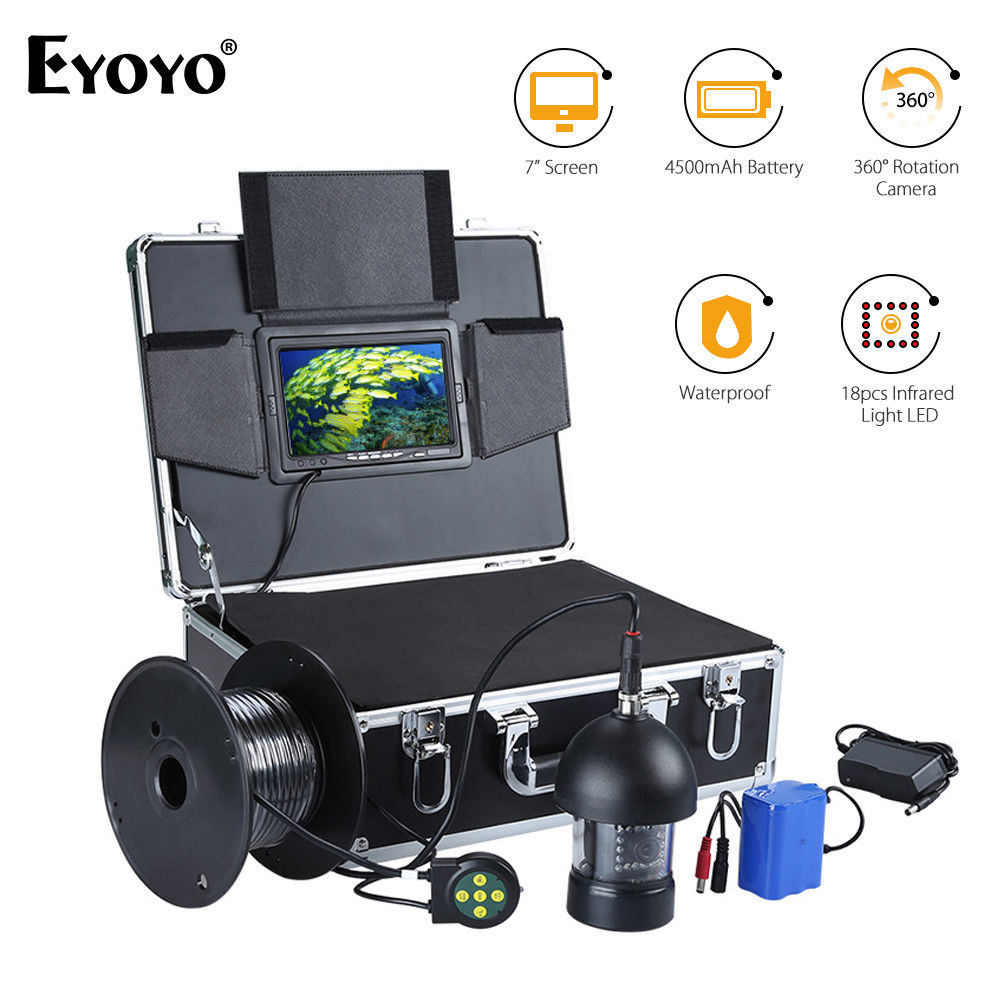 EYOYO 7inch 360 Degree 8GB DVR Underwater Fishing Camera Fish Finder Infrared HD 1000TVL with 20M Cable 1 set 50m cable 360 degree rotative camera with 7inch tft lcd display and hd 1000 tvl line underwater fishing camera system