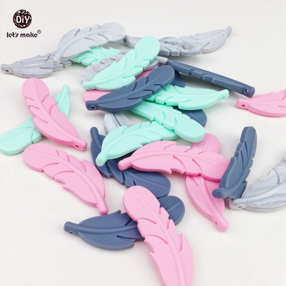 Lets Make Silicone Feather Teether 10pc Nursing Accessories DIY Teething Necklace BPA Free Silicone Teether Shower Gift Teether