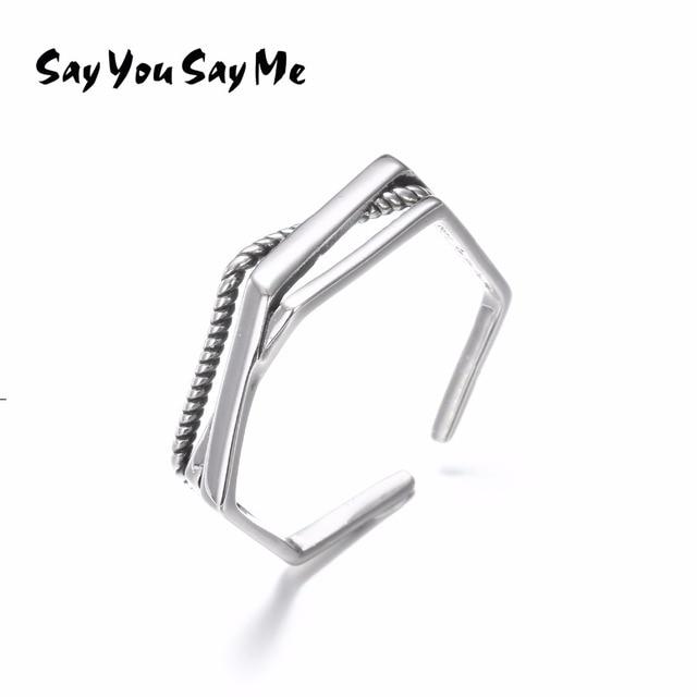 925 Sterling Silver Geometry Rings Wholesale Multi-layer Silver Rope Rings Weddi