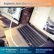 Hotony 안티 블루 레이 렌즈 1.61 프리폼 프로 그레시브 처방 광학 렌즈 안경 눈 보호를위한 UV 렌즈 너머