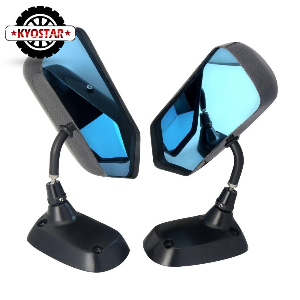 F1 Style Carbon Fiber Blue Mirror Metal Bracket Side Mirror Universal Racing Drift Car Side Rearview