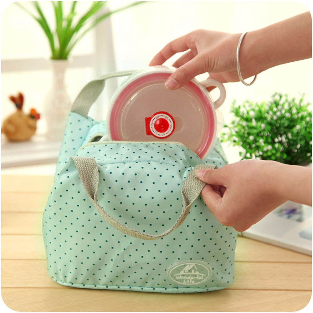 Hot Thermal Insulated Portable Lunch Bag Tote Picnic Insulated Cooler Zipper Organizer Polyester Peach Skin Lunch Box 23Jun 12