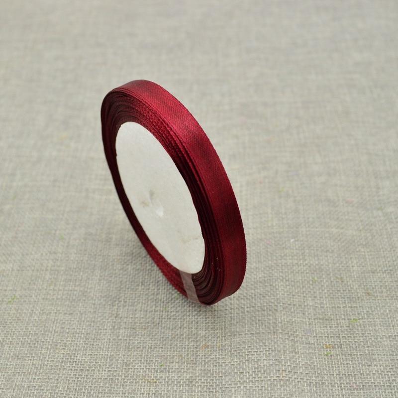 10 мм, 25 ярдов, шелковая атласная лента для свадебного автомобиля, ручная работа, Подарочная коробка для конфет, материалы для украшения, рождественские ленты - Цвет: Red wine
