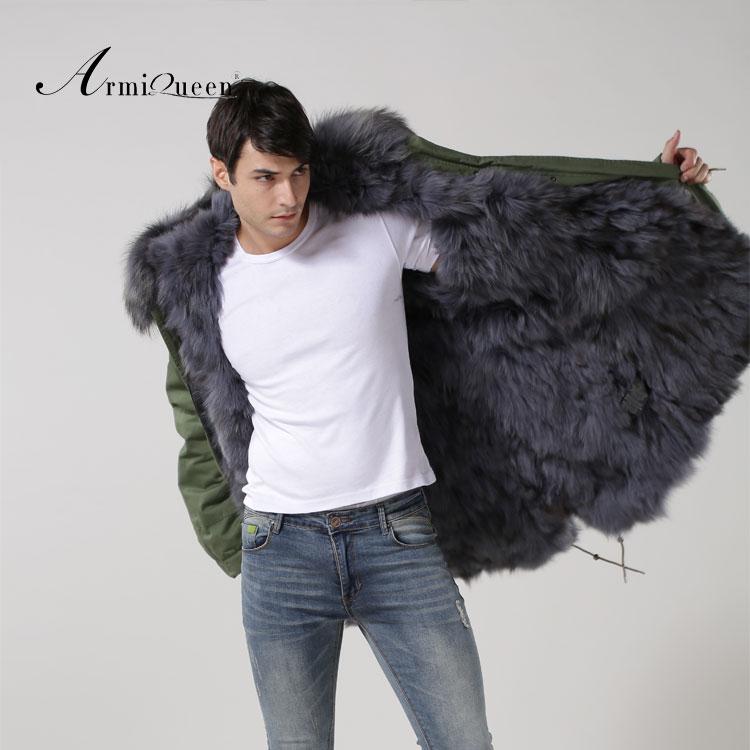 2016 Grey Fox fur long real fox liner fur coat winter Windbreak Trench Coat plus size XS-4XL Free shipping