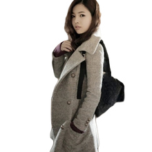 Woolen Overcoats Korean Fashion Slim Winter Thick Woolen Coat Turn-down Collar Double Breasted Wool Coats abrigos mujer   BG928
