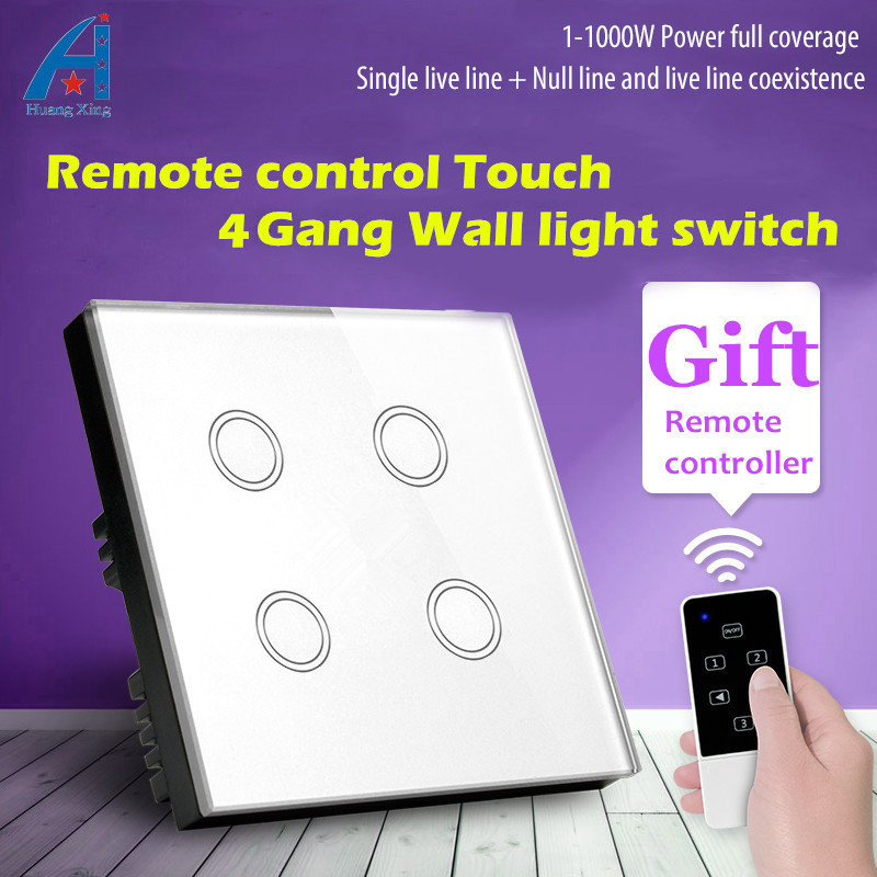 HUANGXING UK Standard Luxury White Crystal Glass Panel, 4Gang1Way Touch Wall Switch, 1000W Remote Control Light Switch, 110~240V smart home uk standard crystal glass panel wireless remote control 1 gang 1 way wall touch switch screen light switch ac 220v