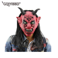 Halloween Mask Scary Clown Latex Full Face Mask Little Devil Hair Nose Cosplay Horror Masquerade Adult Ghost Party For Props