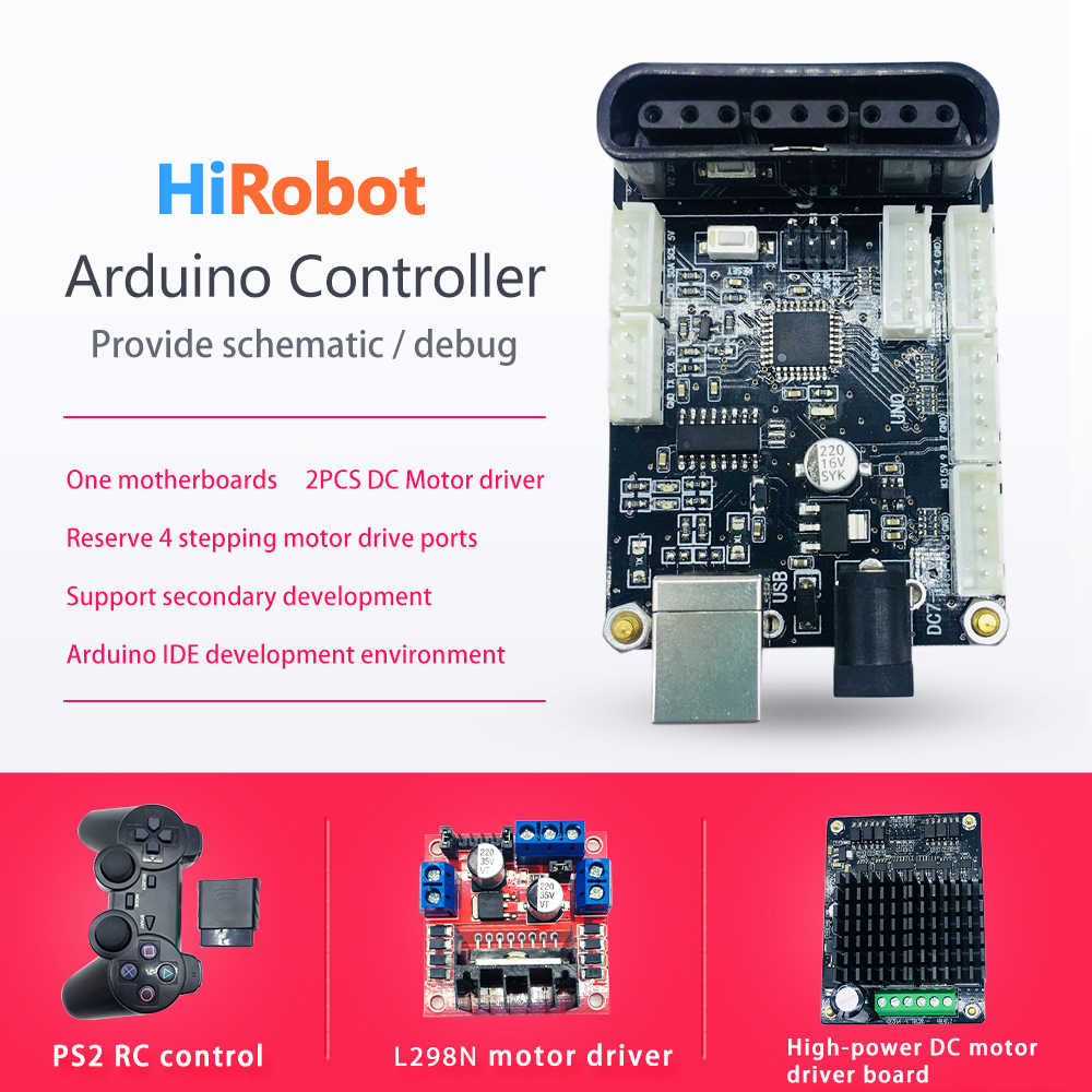 Arduino controller, DC Motor driver,PS2 Wireless Controller Remote, for  Arduino 2wd 4wd RC Smart Robot Tank Car