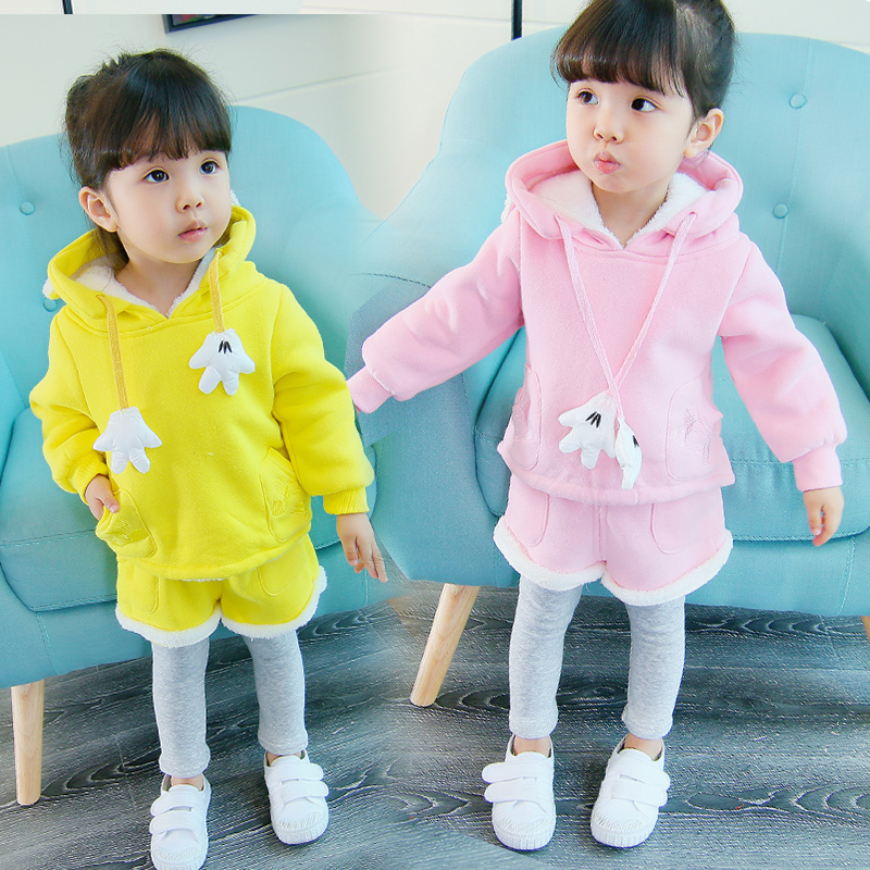winter autumn 1-4 years old baby children clothes sets girls thicken tops + pants two pieces sets children clothing zipper sets 2016 new fashion autumn winter boy two pieces suit thicken children tops pants suit leisure hooded kids clothes hl0856