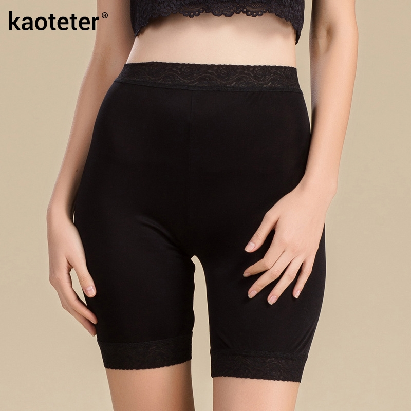 100% Silk Womens Safety Short Pants Women Lace Boyshort Sexy Female Bottoming Femme Panties Girl Knickers Woman Underpants
