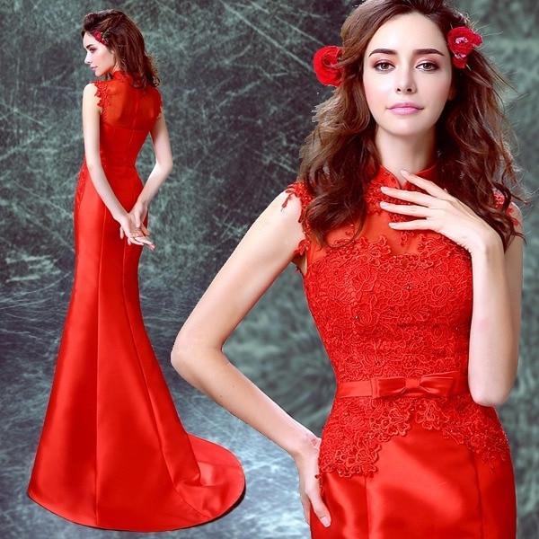 merah satin lace applique mermaid Trailing tanpa lengan cina gaya - Pakaian kebangsaan - Foto 1