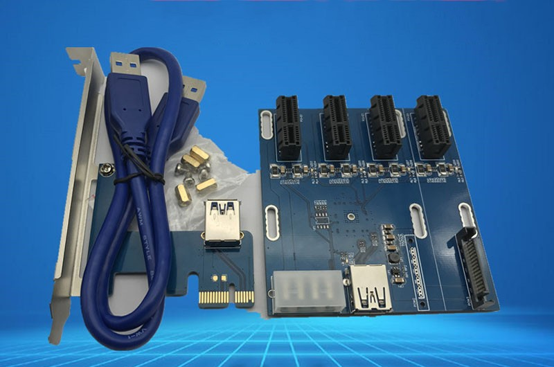 NEW blue PCIe 1 to 4 PCI express 1X slots Riser Card Mini ITX to external 4 PCI-e slot adapter PCIe Port Multiplier Card 1pc pcie 1 to 4 pci express 1x slots riser card mini itx to external 4 pci e slot adapter pcie port multiplier card em88