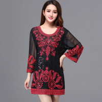 Oversize Casual Women Loose Long Tunic Top Color Block Flower Embroidered Sequin Shirt Top Large Size Summer Holiday Top