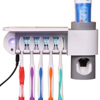 Hot Selling Toothbrush Holder Ultraviolet Sterilizer Sanitizer Cleaner Storage Automatic Toothpaste Dispenser