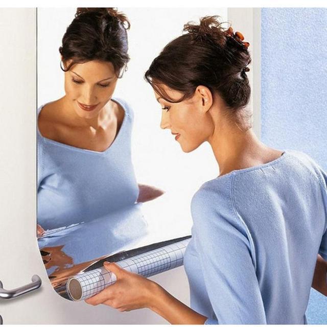 60x100cm Mirror Wall Stickers Silver Reflective Solar Film Mirror Wall Sticker Rectangle Self Adhesive Room Decor Stick On Art