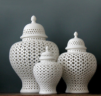 H45cm Chinese White Hollowed Porcelain Ceramic Temple Jar/ginger Jar Vase Home Decoration Accessories Vases