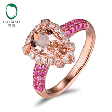 14K Rose Gold 1.79ct Natural Peach Morganite 1.13ctw Diamonds & Pink Sapphires Engagment Ring