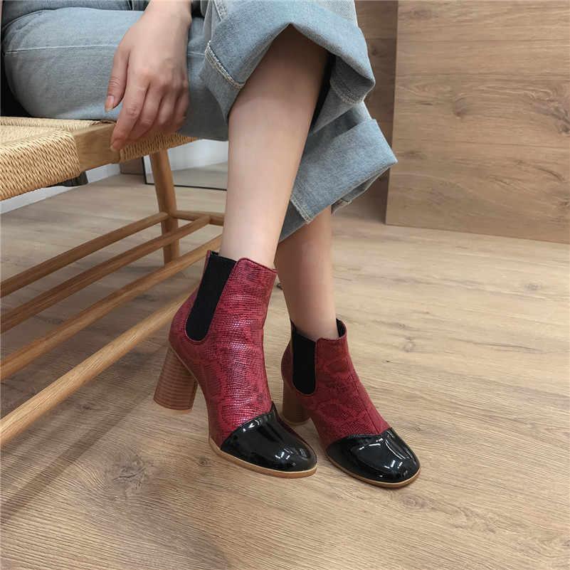 FEDONAS 2020 Yeni Hayvan Baskılar Suni Deri Kadın yarım çizmeler Üzerinde Kayma kısa çizmeler Kış Chelsea Çizmeler Ofis Ayakkabı Kadın