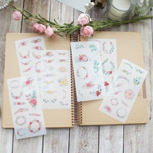 6 sheets Flowers in clusters washi Paper sticker as Scrapbooking DIY gift packing Label Decoration Tag party