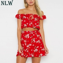 9c9d2ef22a45aa NLW Red Flower Two Piece Women Set Off Shoulder Ruffle Crop Top Sexy Mini  Wrap Skirt
