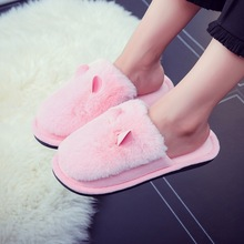 Women's Slippers Winter New Rabbit Hair Ears Cotton Slippers Couples Plush Home Shoes Indoor Warm Flat Femake Cotton Slippers