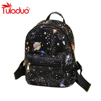 Fashion Universe Space Printing Canvas Backpack Black School Bags For Teenage Girls Small Backpack Women Leather