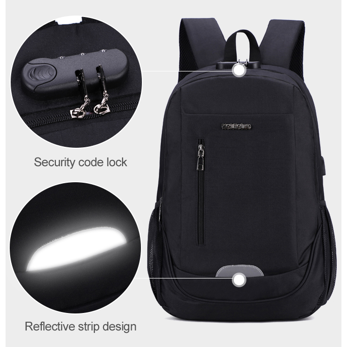 Business Travel Backpack Laptop-Bag Usb-Charging Anti-Theft School-Teenage Men's