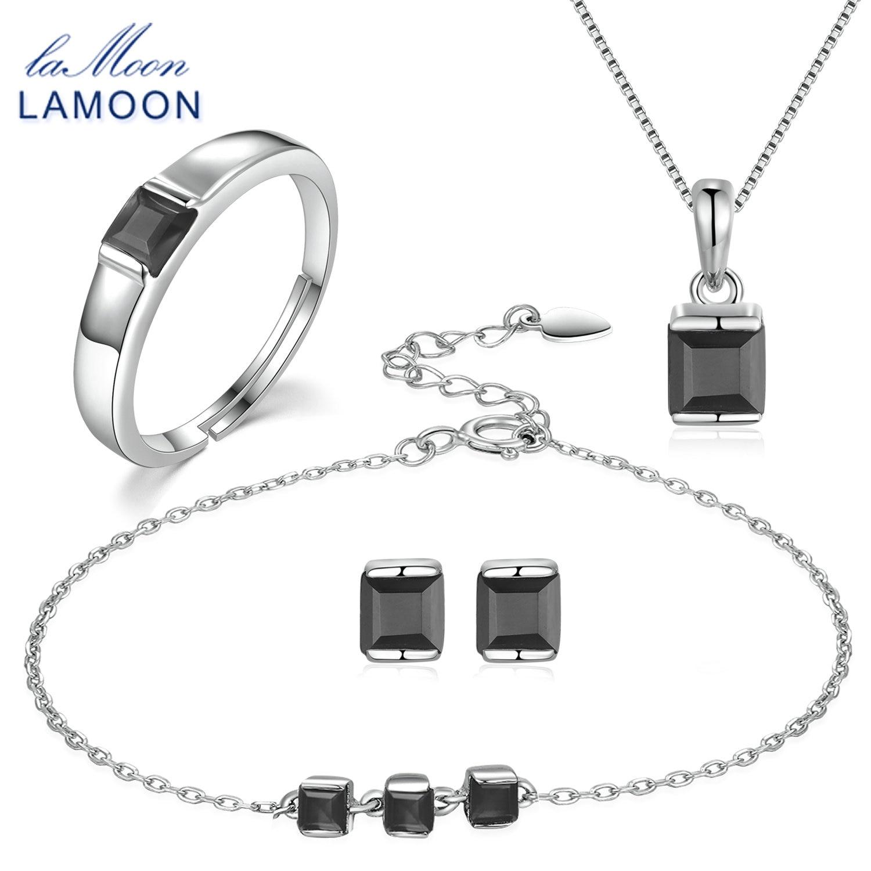 LAMOON 4mm 0.6x2 ct naturel noir calcédoine 925 en argent Sterling Simple parure de bijoux S925 pour les femmes V008-B-1