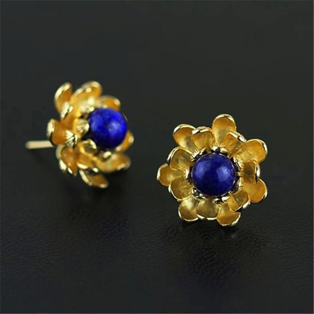 Excellent Handmade Vintage Jewelry Original Design Retro Lotus Flower Stud Earrings With Blue Lapis 925 Sterling Silver Bijoux