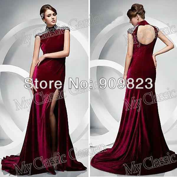 e0155ec4a94 New High Collar Beaded Slit Velvet Full Length Open Back Formal Mermaid  Velvet Celebrity Evening Dresses Gowns 2013