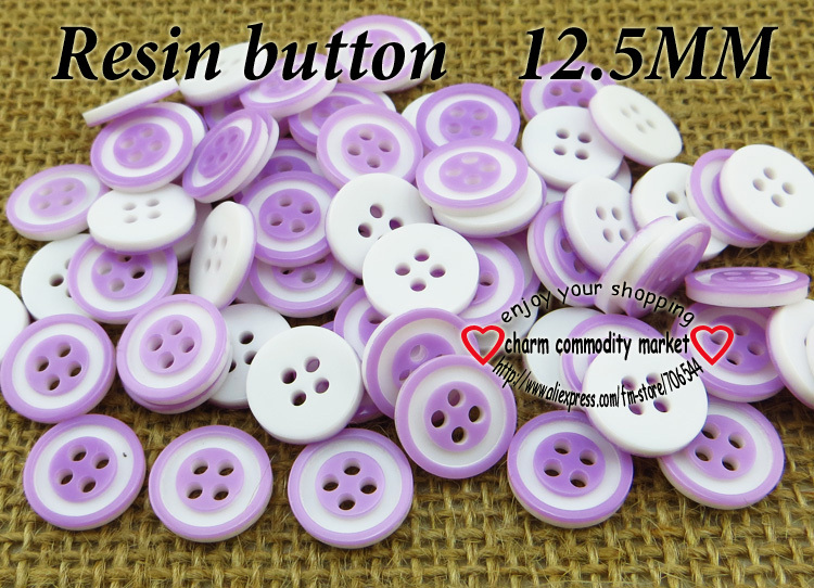100PCS 12.5MM purple 4-Holes RESIN buttons coat boots sewing clothes accessories R-111