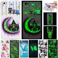 De lujo de dibujos animados Animal cráneo luminoso de luz de la noche de TPU Funda de teléfono casos para Coque Huawei Ascend P8 Lite/P9 Lite caso de la contraportada