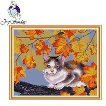 Joy Sunday,Cat and maple,cross stitch embroidery set,printing cloth embroidery kit,needlework,Animal picture cross stitch set joy sunday magnolia flower cross stitch embroidery set printing cloth embroidery kit needlework flowers picture cross stitch kit