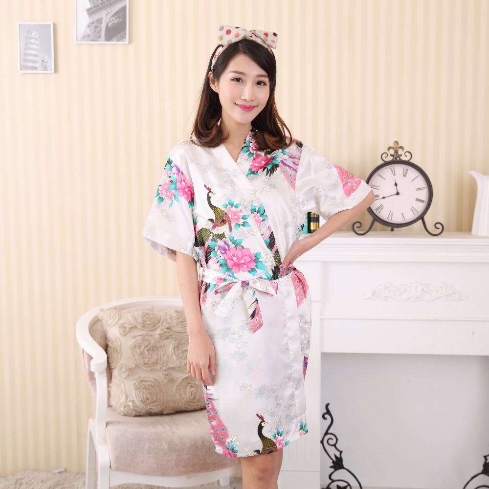 Sexy White Chinese Female Rayon Robe Dress Nightwear Printed Summer Casual Sleepwear Kimono Bath Gown Flower&Peacock One Size