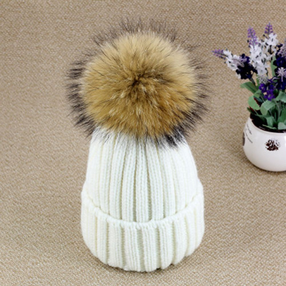 New Autumn Winter women cap real fox fur ball hat Pom poms 15CM knitted cap female thick protect ear warm Lady Beanies Headgear