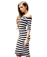 2015 Summer Fashion Women S Dress Sexy Off The Shoulder Knee Length Strapless Stripe Dresses Half