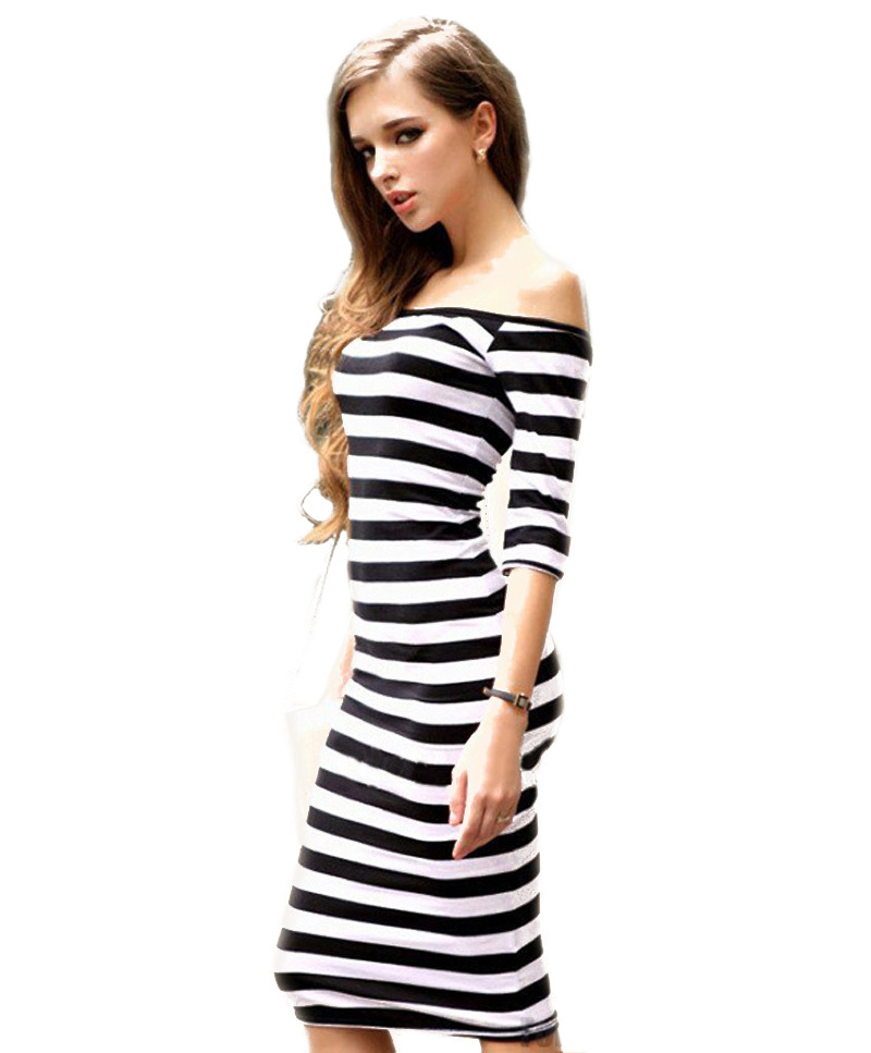 2015 Summer Fashion Women's Dress Sexy Off The Shoulder Knee Length Strapless Stripe Dresses Half Sleeve Slim Hip Pencil Dress